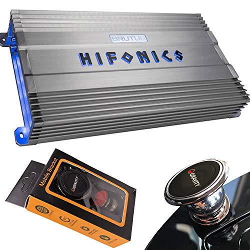 Hifonics BG-2500.1D 2500 Watts Brutus Gamma Mono Subwoofer Car Audio Amplifier with Gravity Magnet Phone Holder Bundle