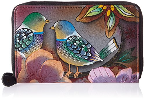 Anuschka Women's Genuine Leather Twin Zip Organizer Wallet | Holds up to 18 Cards | Hand Painted Original Artwork Multicoloured Size: One Size