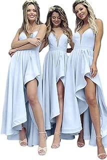 Jonlyc A Line V Neck Spaghetti Straps High Low Satin Bridesmaid Dress Wedding Party Dress