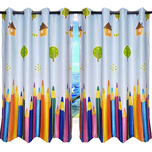MYRU 1 Pair Dining Room Curtains,Kids Room Darkening Curtains,Room Decor for Childrens Bedroom Colorful Pencil (2 x 39x63 Inch)