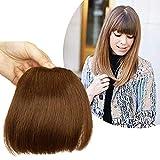 Frange a Clip Cheveux Naturel Plus Epaisse - 100% Vrai Cheveux Humain Postiche Extension Lisse - #06 Châtain Clair