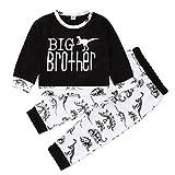 Photo de Lot de 2 vêtements pour bébé garçon à manches longues avec imprimé lettres, sweat-shirt, t-shirt + imprimé dinosaure, pantalon long Big Brother Little Brother - - 3-4 ans