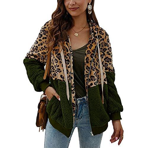 ABINGOO Damen Kapuzenjacke Warm Mantel Teddy-Fleece Plüschjacke Leopard Casuale Zip Hoodie Cardigan Outwear,Grün,2XL