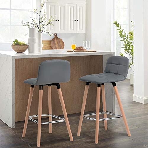 SMLJFO Juego de 2 taburetes modernos para barra de desayuno, taburetes de bar de piel sintética para cocina, desayuno, sillas altas con respaldo y reposapiés de haya maciza, patas de café, pub (gris)