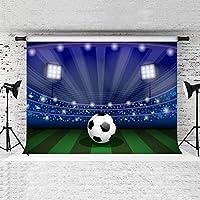 Zhy 7X5FTサッカーフィールド背景青いスポットライトスポーツクラブ写真の背景部屋壁画背景またはテーマパーティーバナーDSST195