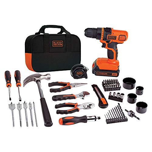 commercial power tool set SCHWARZ + DECKER 20V MAX drill and home tool set, 68 pieces (LDX120PK), black / orange