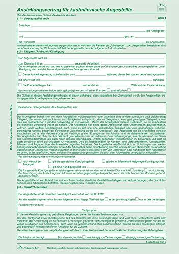 RNK 541/10 - Anstellungsvertrag für kaufmännische Angestellte, DIN A4, selbstdurchschreibend, 10 Veträge