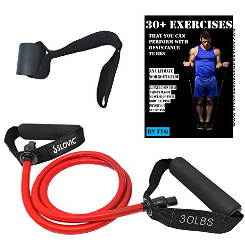 SLOVIC Resistance Tube/Band with Foam Handles, Door Anchor for Men and Women with Extensive Guide Containing 30 Plus Exercises(RED, 30LBS)