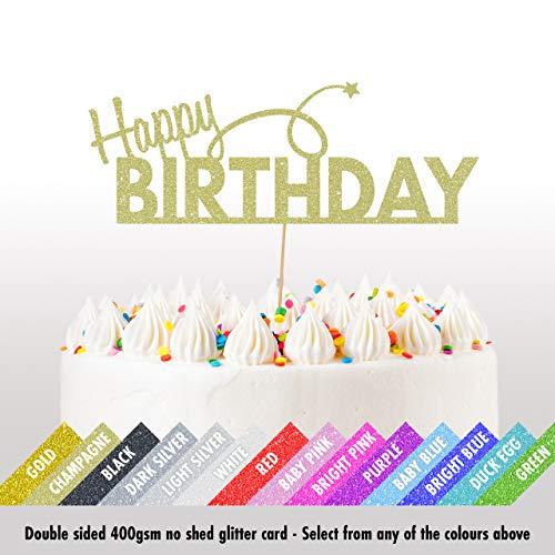 Cakeshop Happy Birthday Glitter Taart Topper Party Decoratie - Dubbele Zijde 400gsm Glitter Card, Keuze 14 kleuren en tal van stijlen Champagne