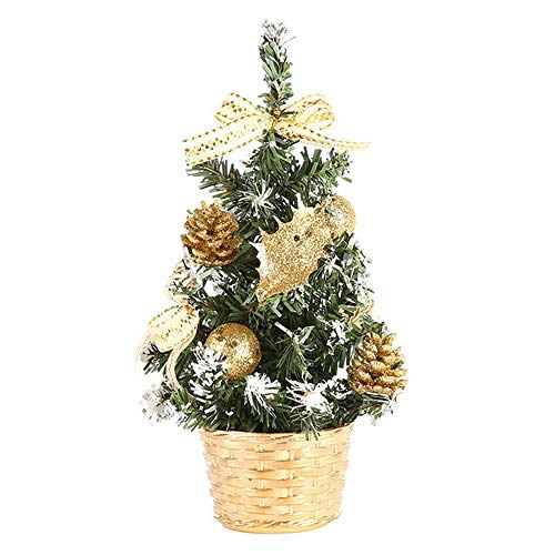HINK Albero di Natale in Legno, Decorazione Natalizia, ripiano Artificiale Mini Christmas Tree Artificial Mini Christmas Tree Festival Miniature Tree Natale Regalo (Oro, 20cm)