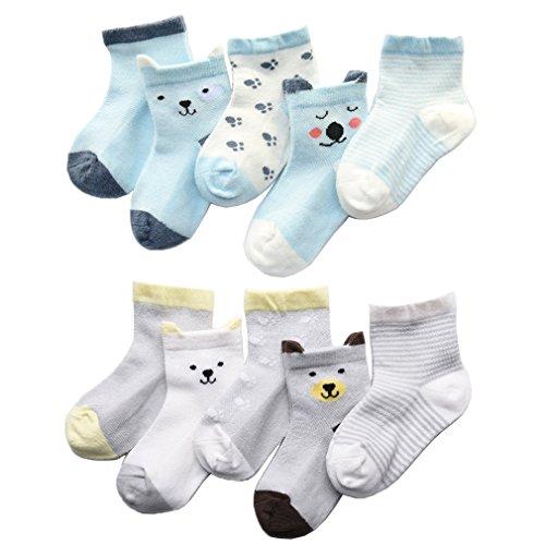 Z-Chen Calcetines de Verano para bebé niño niña (Pack de 10), 1-3 años, Set 1