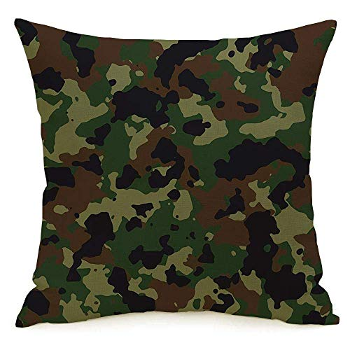 LREFON 18' 2pcs Square Throw Pillowslip Green Camoflage Woodland Camo Black 200 Camouflage USA Technology Navy Camoflauge Soft Skin-Friendly Pillowcase for Couch Sofa