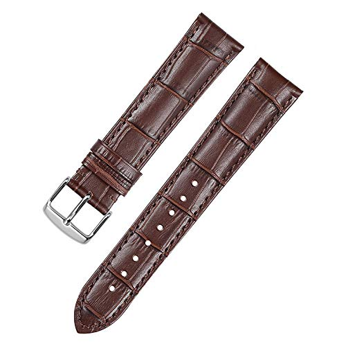 Watch Band Watch Strap 14 16 18 19 20 21mm 22mm 24mm leather Black Brown Grain Bracelet Buckle Clasp-brown_with_silver_14mm