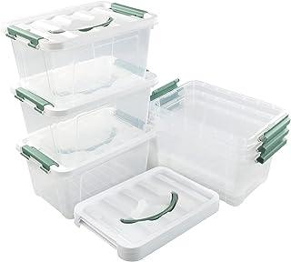Callyne Ensemble de 6 boîtes de rangement en plastique transparent, 5,5 L