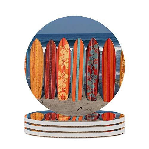 Posavasos para tablas de surf de café en gafas de playa, cojín de decoración del hogar, tazas de corcho, almohadillas de mesa de oficina, protección contra manchas, tazas redondas, 4 piezas