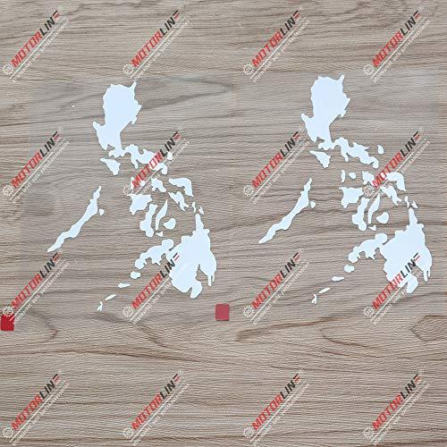 2X White 6'' Philippines map Outline Decal Sticker Car Vinyl Filipino Pilipinas Filipine