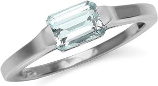 Silvershake Genuine Light Blue Octagon Aquamarine March Birthstone 925 Sterling Silver Solitaire Gemstone Ring
