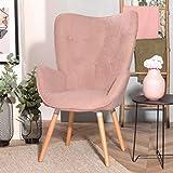 FURNISH1 Stoff-Esszimmerstuhl, Kindersessel mit zentraler Rückenlehne, gepolsterter moderner Freizeitstuhl mit Eichenbeinen - Rose
