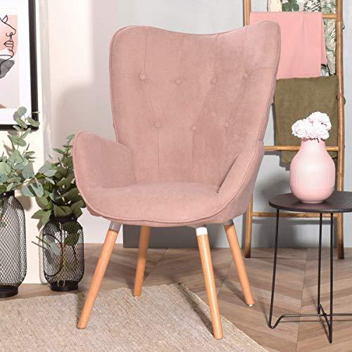 FURNISH1 Eleganter Esszimmerstuhl Fabic, Armstuhl, Halterung mit Mittellehne, gepolsterter Sessel, Moderne Freizeit mit Metallfüßen Eiche (Rosa)