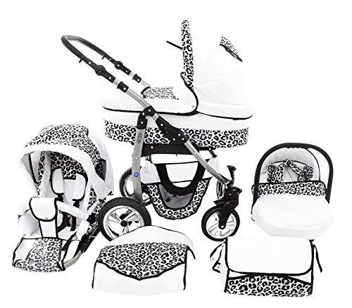 Poussette Combinée Trio landau 2en1 3en1 Isofix siège Auto D-Deluxe by SaintBaby blanc & léopard des neiges 3en1 avec siège bébé
