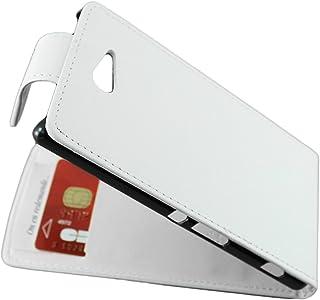 ebestStar - Funda Compatible con Sony Xperia M2 D2302 D2303 Carcasa Abatible PU Cuero, Ultra Slim Case Cover, Blanco [Aparato: 139.7 x 71.1 x 8.6mm, 4.8'']