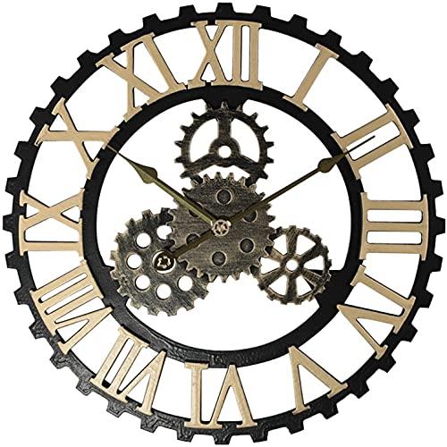 Reloj Silencioso Que No Hace Tictac Reloj De Pared Grande, Engranaje 3d Reloj Colgante Industrial Silencioso Industrial Vintage Con NúMeros Romanos Para Sala De Estar, Bar, 40 Cm