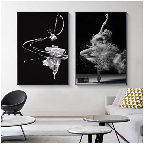 Bailarina de ballet foto cartel impresión impresión blanco y negro niña mujer lienzo pintura sala de estar decoración arte de la pared-60x80x2Pcscm sin marco