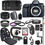 Canon EOS 6D Mark II DSLR Camera with Canon EF 75-300mm f/4-5.6 III Lens + Canon EF 50mm f/1.8 STM Lens + Fully Dedicated TTL Flash + 64Gb SDXC Card + FB-150 Flash Bracket (22 Items kit) (Renewed)
