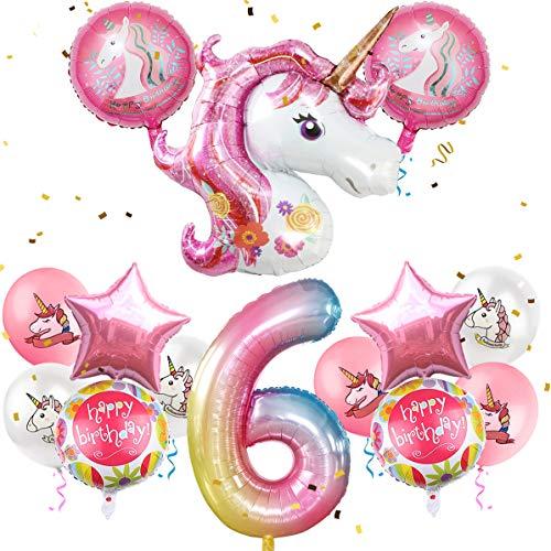 iZoeL Geburtstagsdeko Mädchen 6 Jahr Einhorn Luftballons Folienballon Happy Birthday Geburtstag Party Dekoration für Kinder