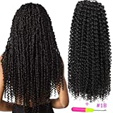 Passion Twist Hair 18 inch Water Wave Crochet Braids Hair Extension 3pcs/lot Kinky Curly Bohemian Locs Synthetic Hair(18'' #1B)