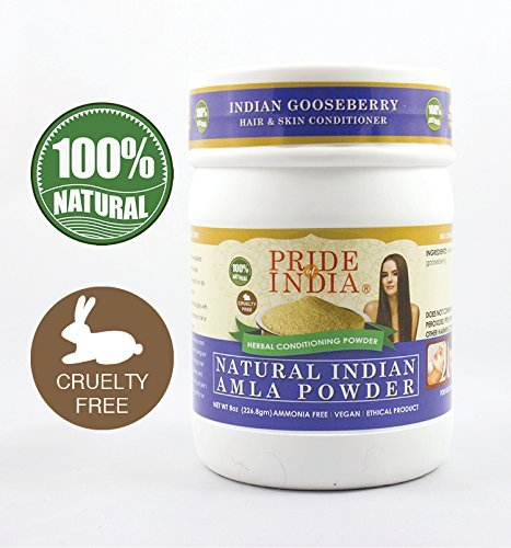 Pride Of India - Indian Amla (Amalaki) Gooseberry Berry Herbal Hair & Skin Care Powder, Half Pound, 100% Natural