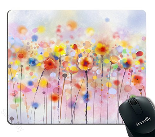 Smooffly Watercolor Flower Mouse Pads, Flowers in Soft Colors and Floral Design Blurred Style, Navy Red Orange Best Gaming Mouse pad