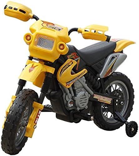 SENLUOWX Kinder Motorrad 2 km h Akku Gelb Kinderfahrzeug Kinderauto