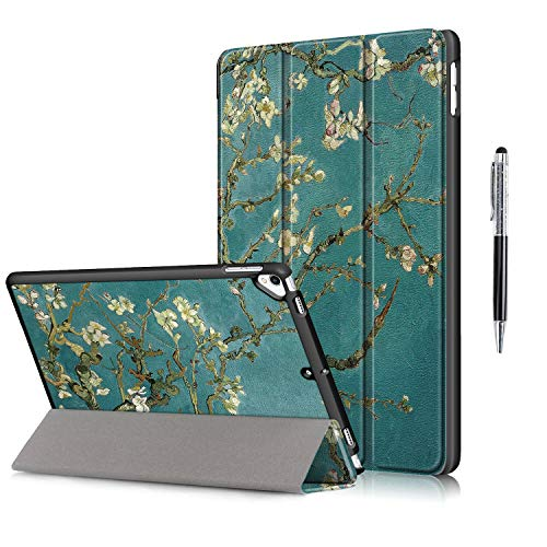 QYiD Case for New iPad 10.2 2019, iPad 7th Generation 2019 Case, Ultra Slim Lightweight Smart Protective Cover Auto Wake/Sleep with Stylus for iPad 10.2' Tablet (Apricot Flower)