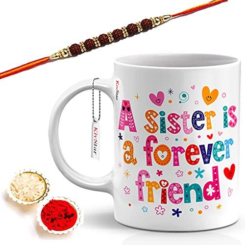 KivStar Raksha Bandhan Quotes Printed White Mug with Designer Rakhi, Roli, Chawal(Multicolor) Gift for Brother, Gift for...