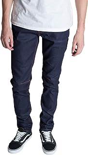 KDNK Men's Tapered Skinny Fit Raw Denim Zipper Fly Seamed Leg Panel Ankle Zip Jeans