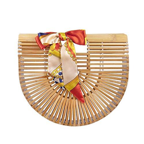 Luxus Bambus Handtasche,High Fashion Handgemachte Handtasche für Frauen Top Griff Taschen für Sommer Strand,Handgefertigt Korbtasche,Damen Bambus Handtasche mit Grifft (bamboo bag L)