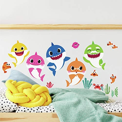 RoomMates RMK4303SCS Baby Shark Peel And Stick Wall Decals Kids Room Decor Blue Pink Yellow product image