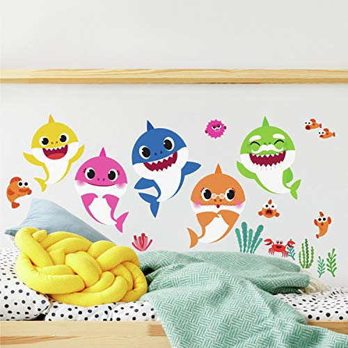 RoomMates - RMK4303SCS Baby Shark Peel And Stick Wall Decals | Kids Room Decor,Blue, Pink, Yellow,Small