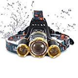 Brightest LED Headlamp 6000 Lumen Flashlight 2X 5000 mAh Rechargeable 18650 Headlight flashlights, Waterproof Hard Hat Light, Lumen Bright Head Lights, Running or Camping headlamps