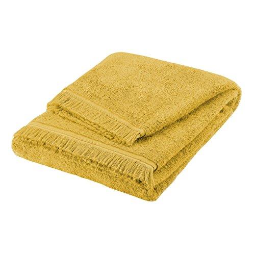BLANC CERISE Serviette de bain - 100% coton peigné longues fibres 550 g/m² - uni safran 50x90 cm