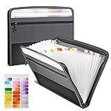 Carpeta Clasificadora, 13 Bolsillos Clasificador Documentos Acordeon, Portátil Extensible Organizador de Archivos A4 de Cremallera