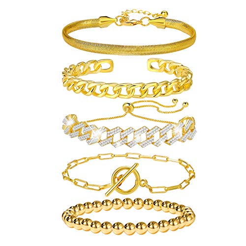 5 Pcs Gold Chain Link Bracelet For Women,14K Gold Plated Dainty Adjustable Cuban Paperclip Stack Bracelets Bangle For Women Girls Jewelry Gifts