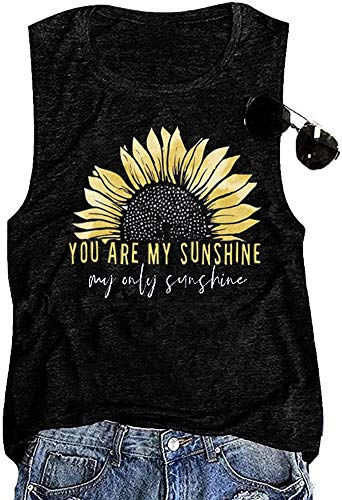 You are My Sunshine Women Sunflower Workout Tank Tops Cute Graphic Relaxed Athletic Holiday Vest Shirt Tee, Black XL