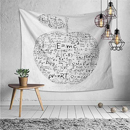 jecycleus Educational Wall Tapestry for Bedroom Equations and Formulas in The Shape of an Apple Learning Knowledge Student Tapestry for Rome Decor W55 x L55 Inch Black White
