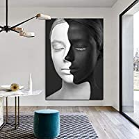 レトロモダン抽象壁アートキャンバス絵画肖像画プリント黒と白のセクシーな女性の壁の写真リビングルームの装飾ポスター-60x90cmフレームなし