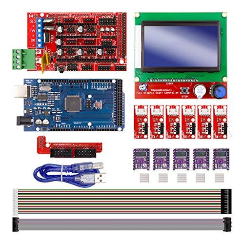 Youmile CNC 3D Printer Kit Impresora 3D Tablero para Arduino + Tarjeta controladora RAMPS 1.4 + LCD 2004 + 6PACK Interruptor límite Final carrera + 5 DRV8255 Controlador paso a paso