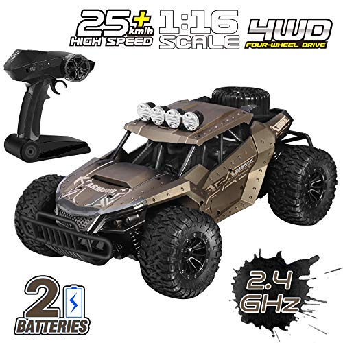 ShinePick RC Car, Remote Control Car for Kids, 1/16 Scale 2.4 Ghz Off Road RC Car with 2 Rechargeable Batteries, High Speed Toy Car for All Kids & Adults