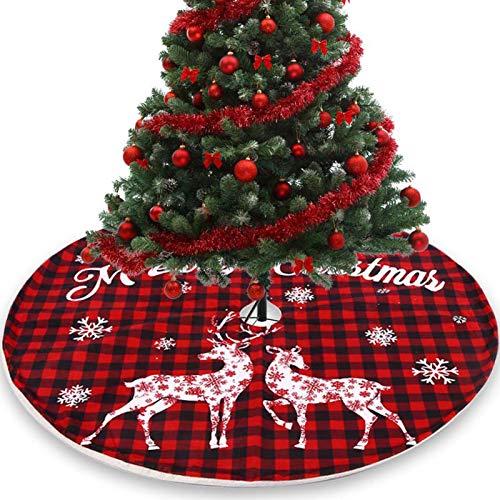 HXCH Falda de árbol de Navidad de 108 cm, color rojo y negro, decoración de fondo de árbol de Navidad para decoración de fiesta de Navidad, árbol de Navidad