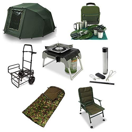 G8DS XXL Camping und Angler-Set: luxeriöses Besteck-Set, 2-Mann Biwak, Warmer Schlafsack, robustem Karpfenwagen, praktischem Stuhl, großem Power-Bank System und einem stabilen Outdoor Gaskocher
